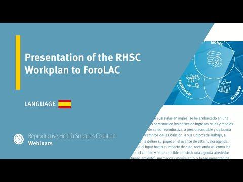 Presentation of the RHSC Workplan to ForoLAC