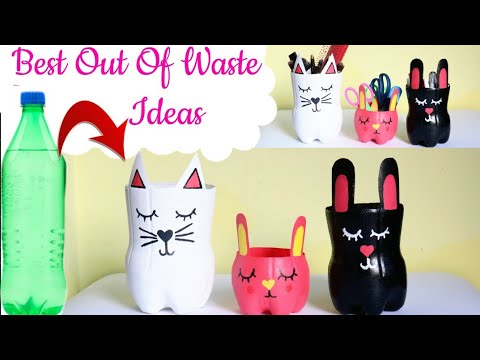 Best Out Of Waste Ideas From Plastic Bottles/ Making pen stand and makeup stuff from waste materials