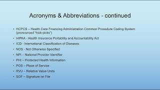 Medical Billing Terminology, Acronyms, & Abbreviations