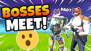 What Happens when KIT Meets his DAD MEOWSCLES in Fortnite? (BOSSES)