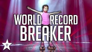 World Record! Kid Skater Gets Judge To Skate on Got Talent Kids China