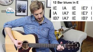 Blues Guitar Tutorial for Beginners  - 12 Bar blues in E (Level 7 #6)
