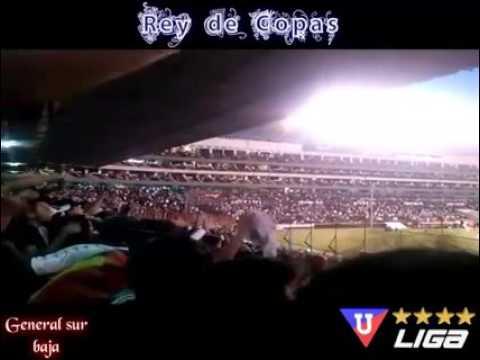"""""""Hinchas de liga alentando al albo"""" Barra: Muerte Blanca • Club: LDU"""