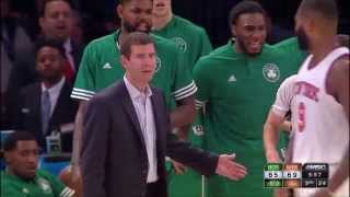 Brad Stevens Gets a Tech vs New York Knicks (preseason, 10/17/2015)