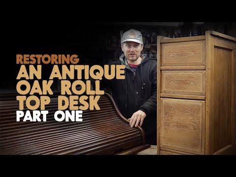 Restoration - Antique Oak Roll Top Desk Part 1