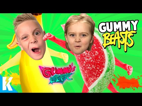 Gummy Gang Beasts!? A Gummy's Life Family Battle! KIDCITY GAMING