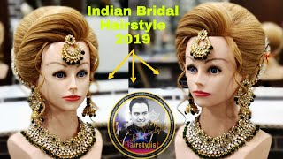 Indain Bridal Hairstyle 2019/ Wedding Bridal  Hairstyle/ Latest Indian Bridal Bun Hairstyle