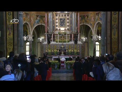 Prière au sanctuaire marial de Pompéi - Visite du Pape à Naples