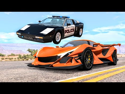 Crazy Police Chases #96 - BeamNG Drive Crashes