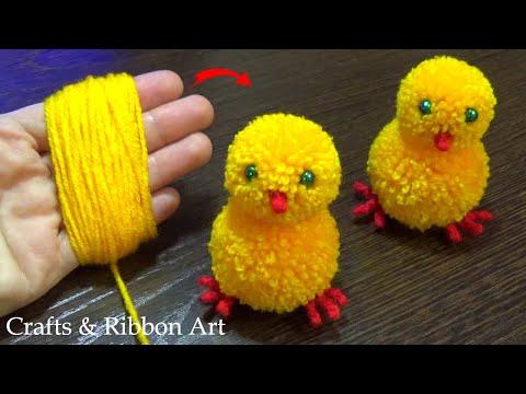 Super Easy Pom Pom Chicken Making Idea with Fingers - DIY Pom Pom Chick - How to Make Yarn Chicken