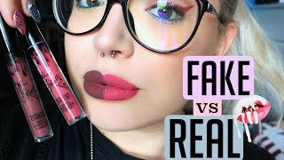 REAL Vs FAKE €2 KYLIE COSMETIC LIP KIT Swatch&info  Ilamakeup02♡