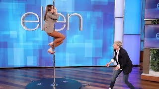 """Aubrey Plaza is hosting the upcoming Film Independent Spirit Awards, and Ellen suggested she imitate nominee Jennifer Lopez in """"Hustlers"""" by doing a routine on a stripper pole. Coincidentally, Ellen had a pole so the actress could practice some moves.  #AubreyPlaza #TheEllenShow #EllenDeGeneres"""
