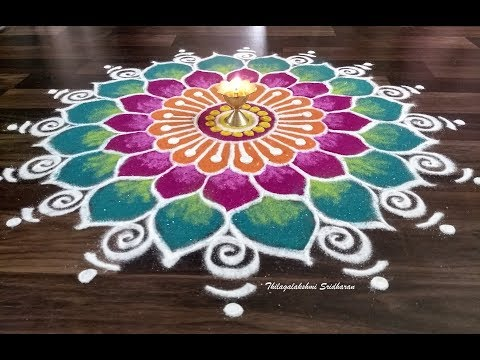freehand rangoli design for diwali by thilagalakshmi sridharan