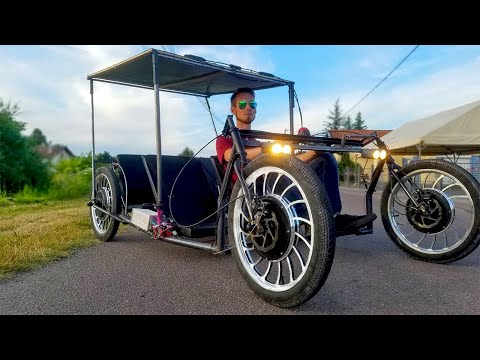 Build a 4000W Electric Solar Car/51kph 4WD/Fabriquer Une Voiture Electrique Solaire TF1 /marc gyver
