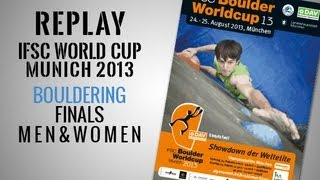 preview picture of video 'IFSC Climbing World Cup Munich 2013 - Bouldering - Finals MEN & WOMEN - Replay'