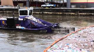 Baltimore City Trash Skimmer Boat in the Inner Harbor