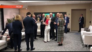 Общение Путина, Макрона, Грабар-Китарович и Лукашенко во время матча Франция-Хорватия