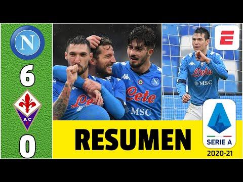Napoli 6-0 Fiorentina. Goles del Chucky Lozano, Insigne, Demme, Zielinski y Politano | Serie A