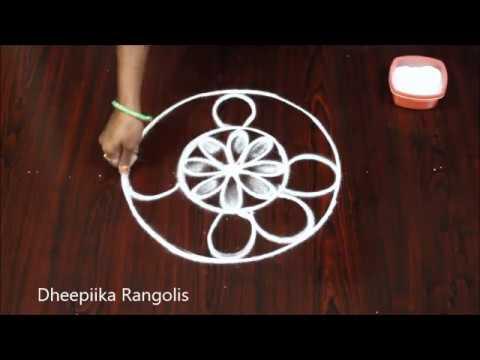 freehand muggulu rangoli design by dheepiika