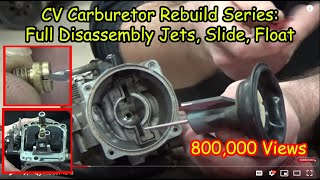 """01 """"How To"""" CV Carburetor : Disassembly Recording Jets And Settings Cleaning Carb Rebuild Series"""