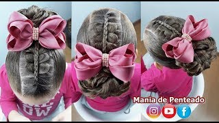 Penteado Infantil fácil para festas | Easy hairstyles with rubber band for girl | Peinado graduación