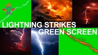 Green Screen Lightning Strikes overlay effects | Animated chroma lightning | Royalty Free Footages