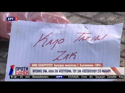 Βρέθηκε DNA, αλλά όχι αποτύπωμα του Ζακ Κωστόπουλου στο μαχαίρι Ι ΕΡΤ