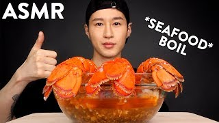 ASMR SEAFOOD BOIL DRENCHED IN BLOVES SAUCE (No Talking) EATING SOUNDS | Zach Choi ASMR