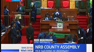 Nairobi county assembly's clerk Jacob Ngwele continues with swearing in after court order to stop