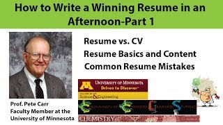 How to Write a Winning Resume in an Afternoon, Part 1: Resume Basics (By Prof. Carr)