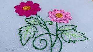 Chain Stitch Flower Embroidery; Back Stitch; Leaf Embroidery