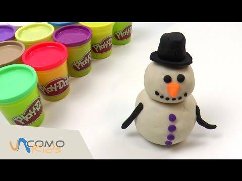 Muñeco de nieve con plastilina Play-Doh