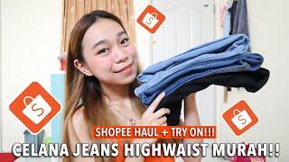 RACUN BGT OMG 😱 | Shopee Haul + Try On Celana Jeans Highwaist Under 100.000 | Adelintiro