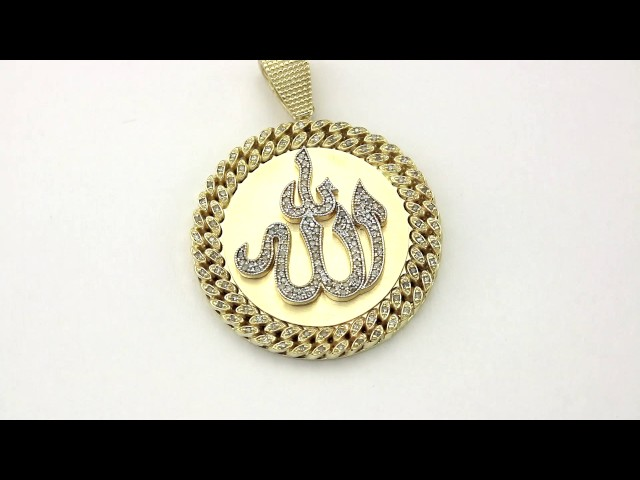 Diamond cuban chain border link allah pendant in 10k yellow gold details aloadofball Gallery