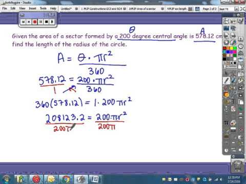 Finding radius given sector area and central angle