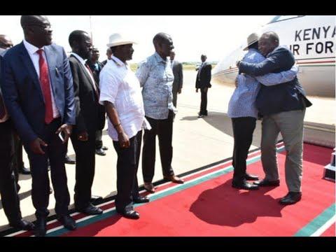 Raila Odinga receives President Uhuru Kenyatta in Kisumu with a hug