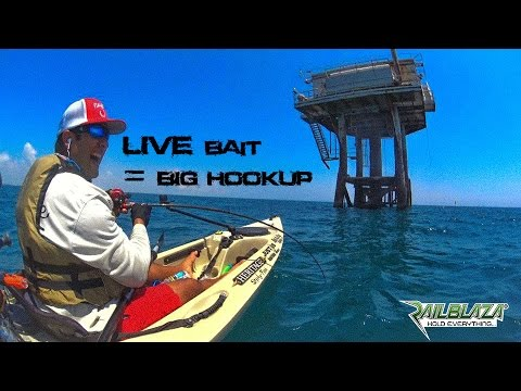 Kayak Fishing OFFSHORE rigs AND mysterious FISH
