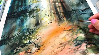Fall Forest in Watercolor Painting and Walk through
