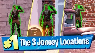 Find Jonesy near Basketball Court, Rooftops and in back of a Truck - Fortnite Downtown Drop Location