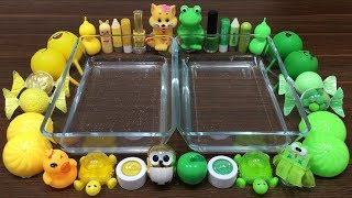 Mixing Random Things Into Clear Slime ! Yellow VS Green Special Series Part 15 Satisfying Slime