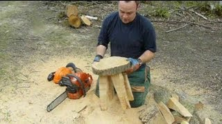 Chainsaw Sculpture: Making a Stool From a Log