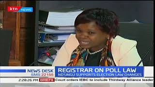 Registrar of Political Parties Lucy Ndung'u supports the Elections laws amendment bill