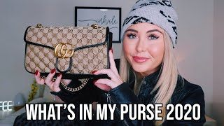 WHATS IN MY PURSE 2020 || Gucci GG Marmont Small Shoulder Bag