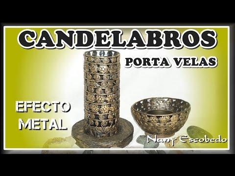 CANDELABROS O PORTA VELAS EFECTO METAL