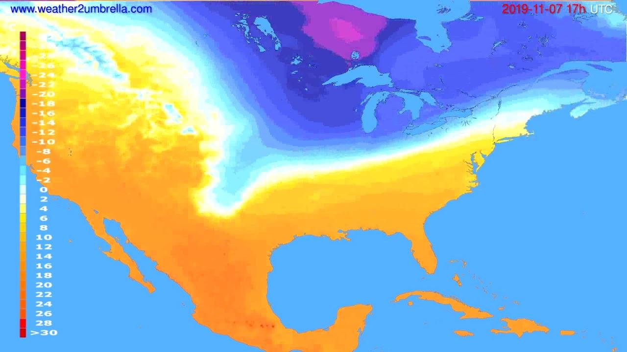 Temperature forecast USA & Canada // modelrun: 00h UTC 2019-11-06