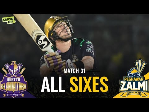 PSL 2019 Match 31: Peshawar Zalmi vs Quetta Gladiators | PEL ALL SIXES
