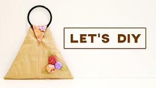How To Make Unique Triangle Handmade Bag With Zipper 【三角拉链手作包教学】#HandyMum ❤❤