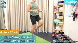 Chạy Nâng Cao Gối Chạm Tay Ngang Hông   Nam   Junie HLV Ryan Long Fitness