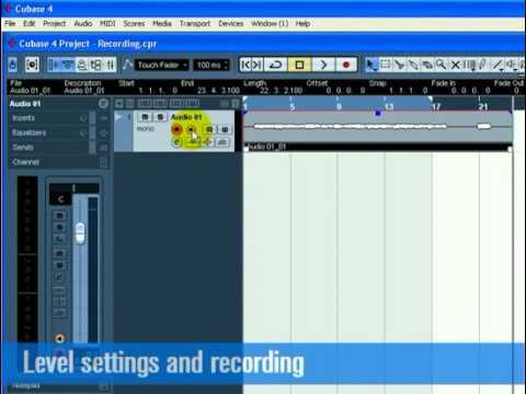Cubase  Tutorial 1 – Recording Audio