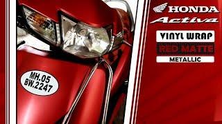 Honda Activa Vinyl Wrapping Red Matte Metallic/ Activa Modification / Honda Activa
